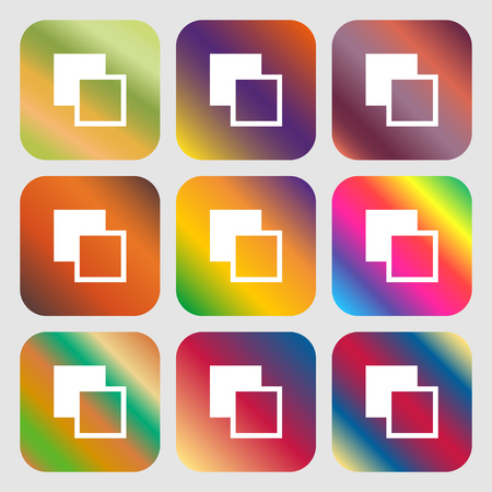 toolbar: Active color toolbar icon. Nine buttons with bright gradients for beautiful design. Vector illustration
