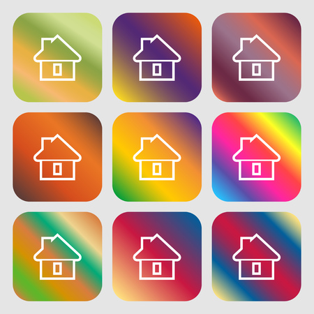 House icon. Nine buttons with bright gradients for beautiful design. Vector illustration