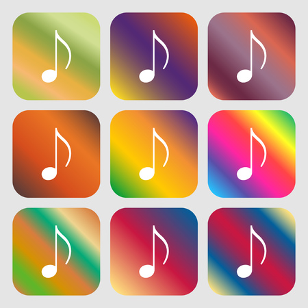 ringtone: musical note, music, ringtone icon. Nine buttons with bright gradients for beautiful design. Vector illustration Illustration