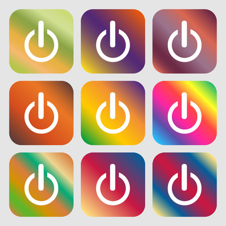shutdown: Power sign icon. Switch on symbol . Nine buttons with bright gradients for beautiful design. Vector illustration