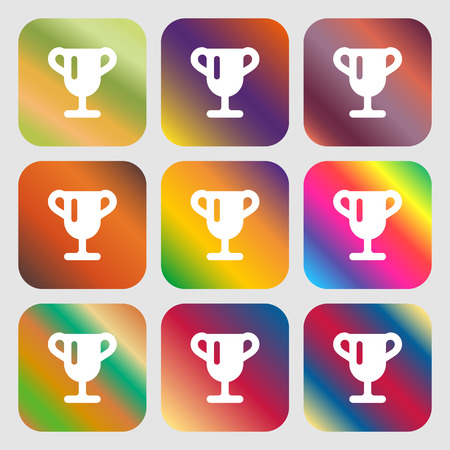 awarding: Winner cup, Awarding of winners, Trophy icon. Nine buttons with bright gradients for beautiful design. Vector illustration Illustration