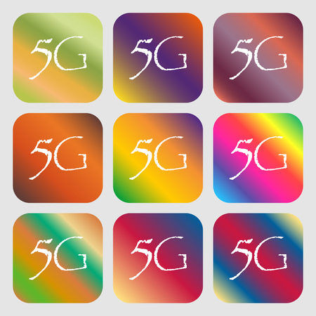 telecommunications technology: 5G sign icon. Mobile telecommunications technology symbol . Nine buttons with bright gradients for beautiful design. Vector illustration