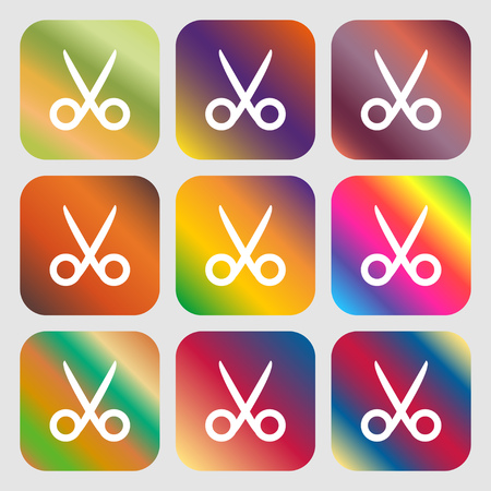 disclosed: Scissors hairdresser sign icon. Tailor symbol . Nine buttons with bright gradients for beautiful design. Vector illustration Illustration