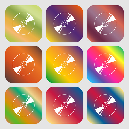 writable: Cd, DVD, compact disk, blue ray icon. Nine buttons with bright gradients for beautiful design. Vector illustration