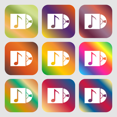 cd player: cd player icon sign . Nine buttons with bright gradients for beautiful design. Vector illustration