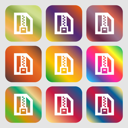 compressed: Archive file, Download compressed, ZIP zipped icon. Nine buttons with bright gradients for beautiful design. Vector illustration