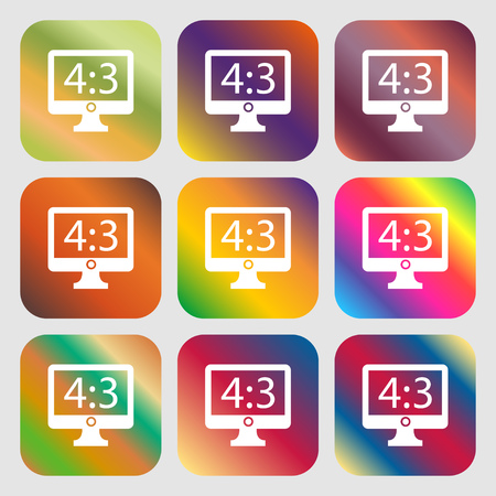 ratio: Aspect ratio 4 3 widescreen tv icon sign . Nine buttons with bright gradients for beautiful design. Vector illustration