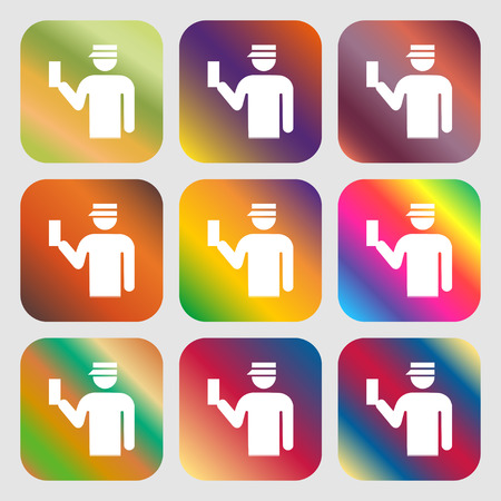 inspector: Inspector icon. Nine buttons with bright gradients for beautiful design. Vector illustration Illustration