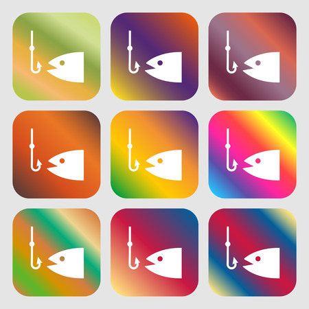 sinker: Fishing icon. Nine buttons with bright gradients for beautiful design. Vector illustration Illustration