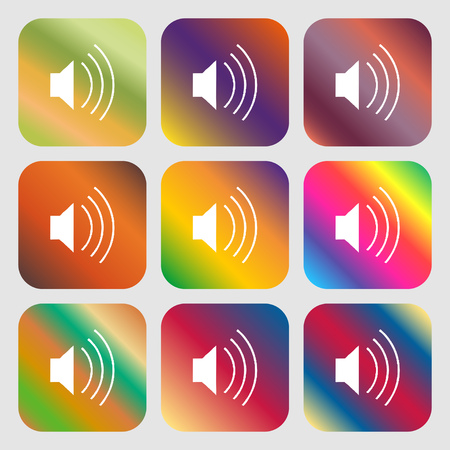 max: volume, sound icon. Nine buttons with bright gradients for beautiful design. Vector illustration