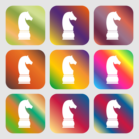 supremacy: Chess knight sign icon . Nine buttons with bright gradients for beautiful design. Vector illustration Illustration