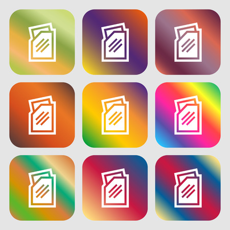 with liquids: Text file icon. Nine buttons with bright gradients for beautiful design. Vector illustration