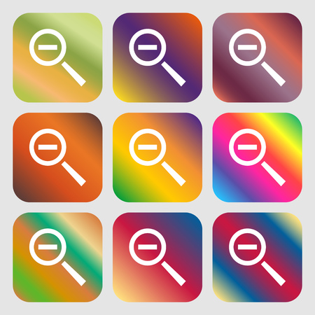 interface menu tool: Magnifier glass, Zoom tool icon sign . Nine buttons with bright gradients for beautiful design. Vector illustration