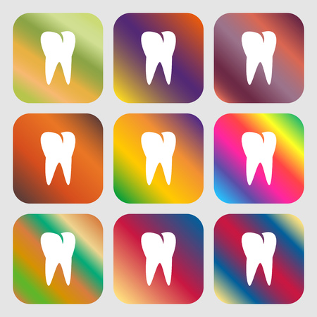 cavity braces: tooth icon . Nine buttons with bright gradients for beautiful design. Vector illustration