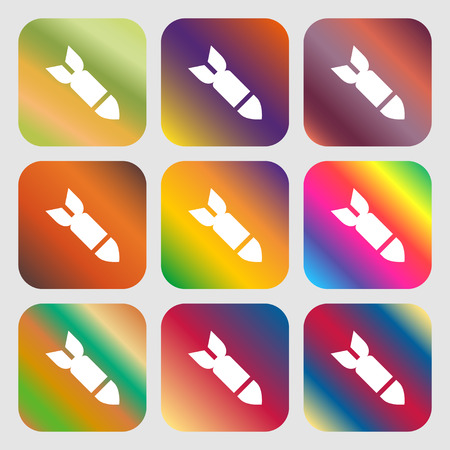 missile: Missile,Rocket weapon icon. Nine buttons with bright gradients for beautiful design. Vector illustration