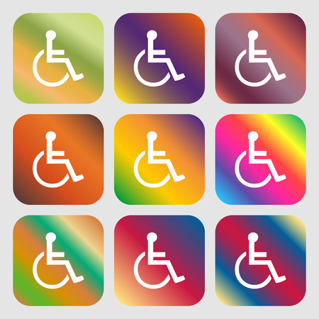 paralyze: disabled icon. Nine buttons with bright gradients for beautiful design. Vector illustration Illustration