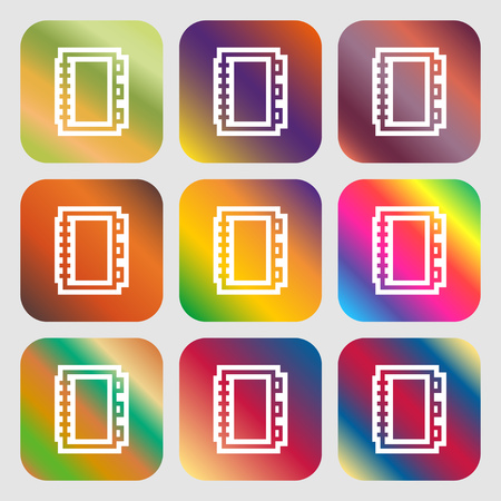 videobook: Book icon. Nine buttons with bright gradients for beautiful design. Vector illustration