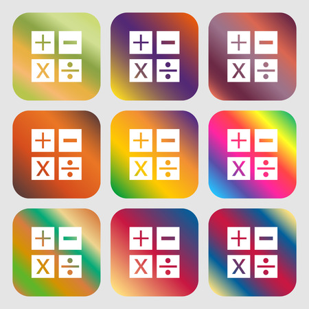 Multiplication, division, plus, minus icon Math symbol Mathematics . Nine buttons with bright gradients for beautiful design. Vector illustration