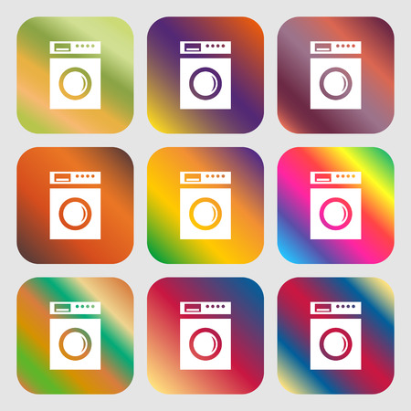 washhouse: washing machine icon sign . Nine buttons with bright gradients for beautiful design. Vector illustration