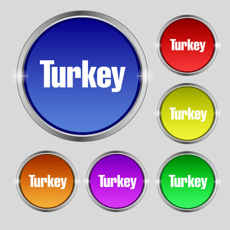 anatolia: Turkey icon sign. Round symbol on bright colourful buttons. illustration