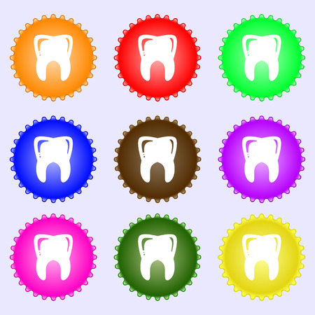 Tooth icon sign. Big set of colorful, diverse, high-quality buttons. illustration