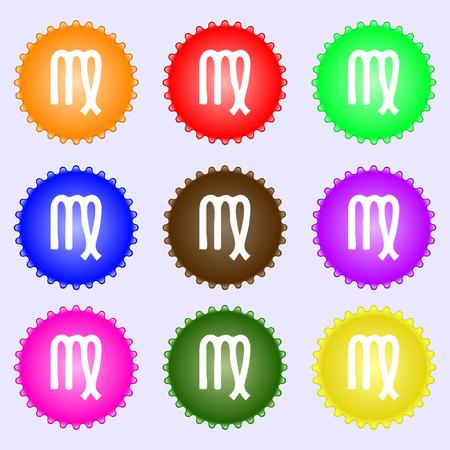 ecliptic: Virgo icon sign. Big set of colorful, diverse, high-quality buttons. illustration