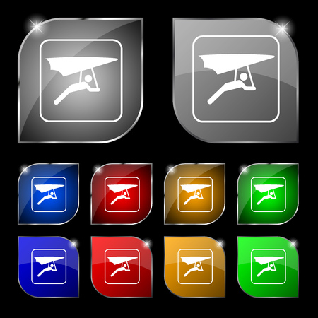 deltaplane: hang-gliding icon sign. Set of ten colorful buttons with glare. illustration Stock Photo