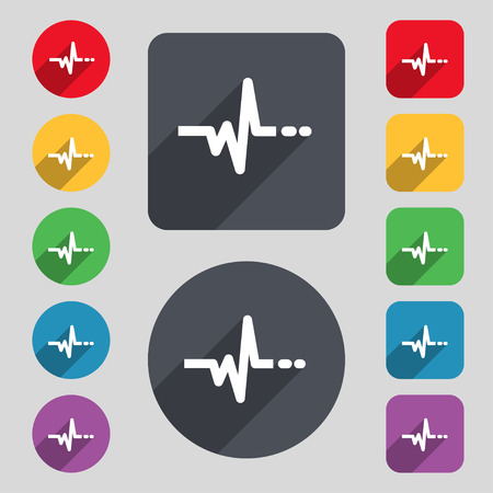 pulsating: pulse icon sign. A set of 12 colored buttons and a long shadow. Flat design. illustration