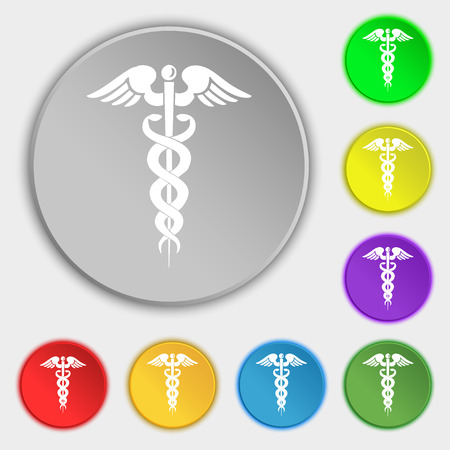 esculapio: medicine icon sign. Symbol on eight flat buttons. illustration Foto de archivo