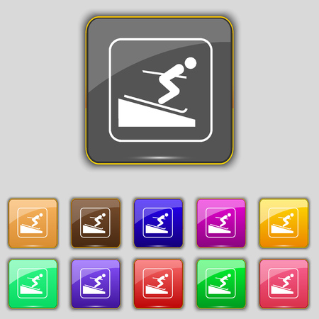 sliding colors: Skier icon sign. Set with eleven colored buttons for your site. illustration