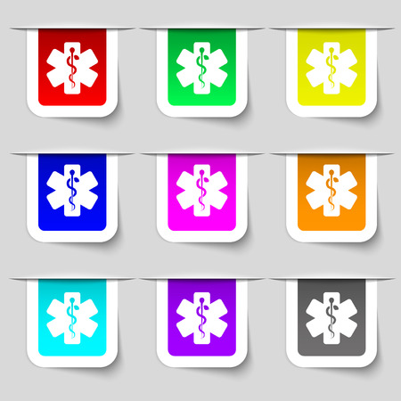 esculapio: Medicine icon sign. Set of multicolored modern labels for your design. illustration Foto de archivo