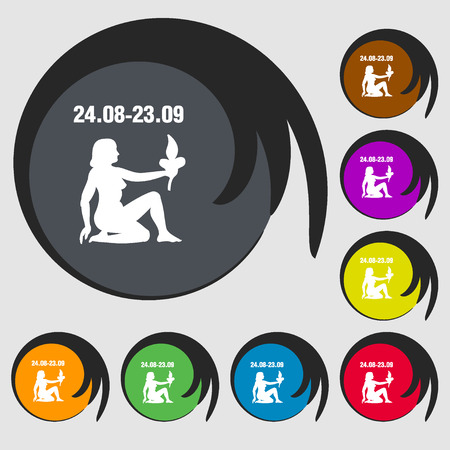 ecliptic: Virgo sign icon. Symbols on eight colored buttons. illustration