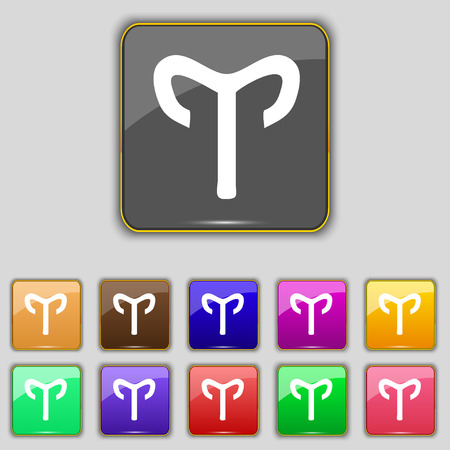 mouflon: Decorative Zodiac Aries icon sign. Set with eleven colored buttons for your site. illustration