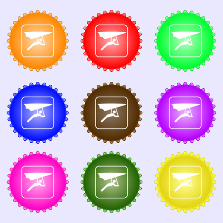 deltaplane: hang-gliding icon sign. Big set of colorful, diverse, high-quality buttons. illustration