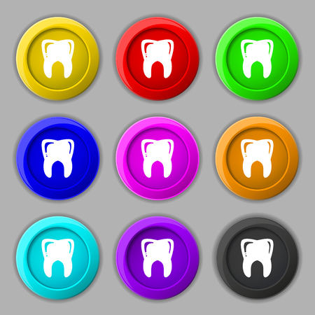 Tooth icon sign. symbol on nine round colourful buttons. illustration