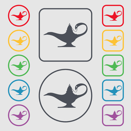 alladin: Alladin lamp genie icon sign. symbol on the Round and square buttons with frame. illustration Stock Photo