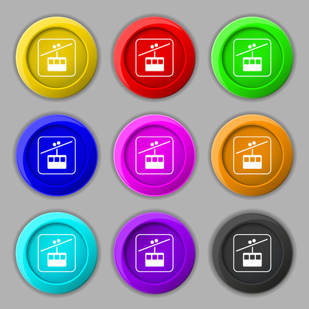 rope way: cable car line icon sign. symbol on nine round colourful buttons. illustration Stock Photo