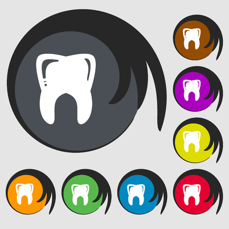mouth pain: Tooth sign icon. Symbols on eight colored buttons. illustration