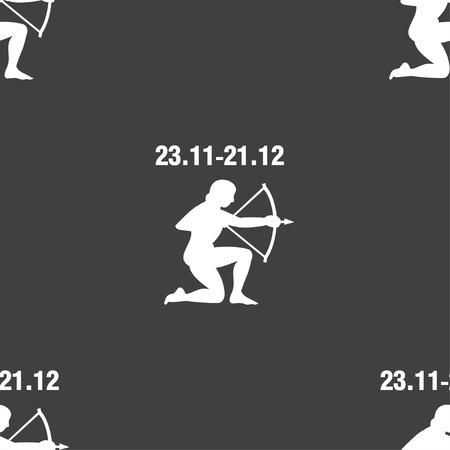longbow: Sagittarius sign. Seamless pattern on a gray background. illustration Stock Photo