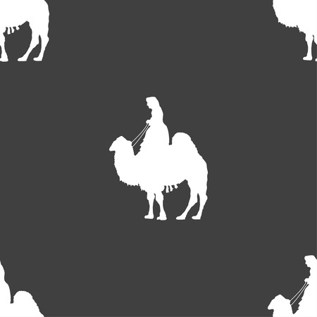 borden: Camel sign. Seamless pattern on a gray background. illustration