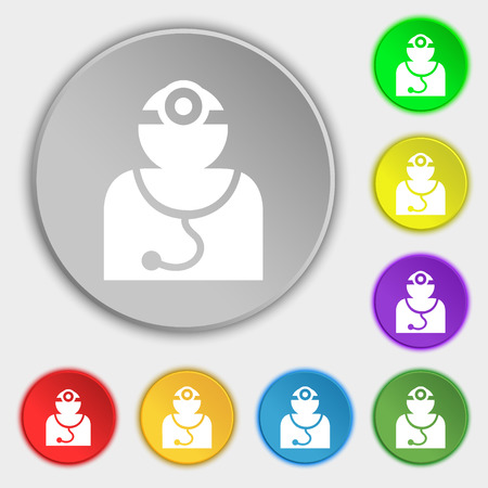 doctor symbol: Doctor with stethoscope around his neck icon sign. Symbol on eight flat buttons. illustration