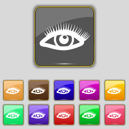 women face stare: eyelashes icon sign. Set with eleven colored buttons for your site. illustration