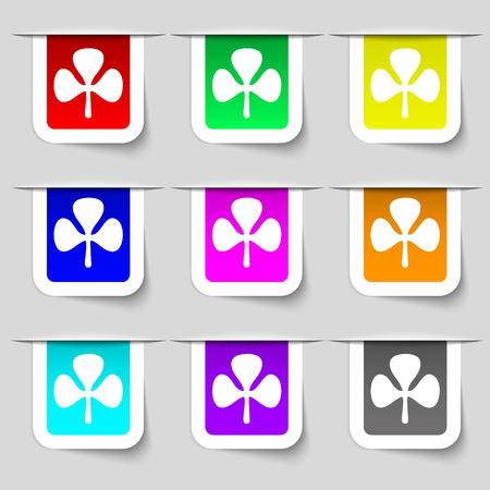 clover face: Clover icon sign. Set of multicolored modern labels for your design. illustration Stock Photo