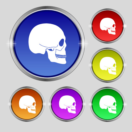 Skull icon sign. Round symbol on bright colourful buttons. illustration Stock Photo