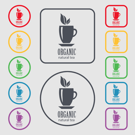 marjoram: Organic natural tea icon sign. symbol on the Round and square buttons with frame. illustration