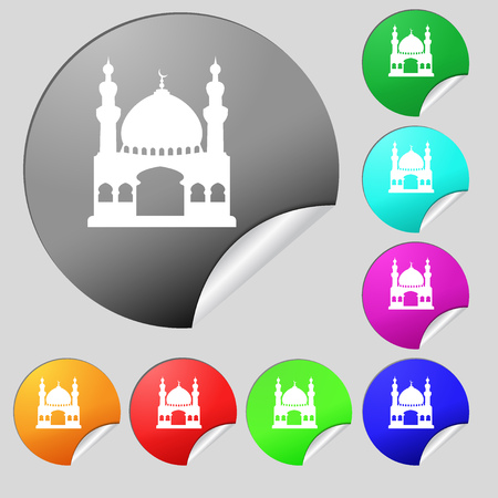 Turkish architecture, mosque icon sign. Set of eight multi colored round buttons, stickers. illustration