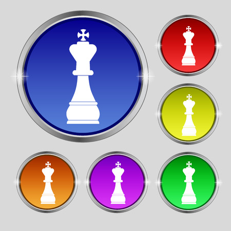 Chess king icon sign. Round symbol on bright colourful buttons. illustration