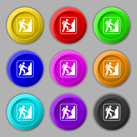 clambering: rock climbing icon sign. symbol on nine round colourful buttons. illustration Stock Photo