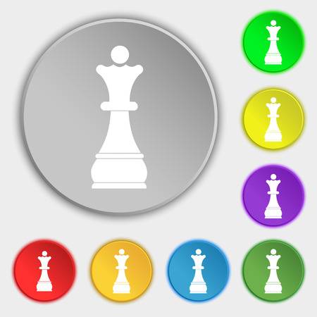 chessman: Chess Queen icon sign. Symbol on eight flat buttons. illustration