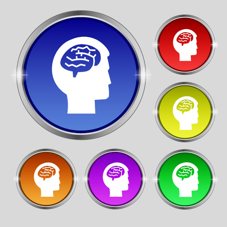 Brain icon sign. Round symbol on bright colourful buttons. illustration Stock Photo